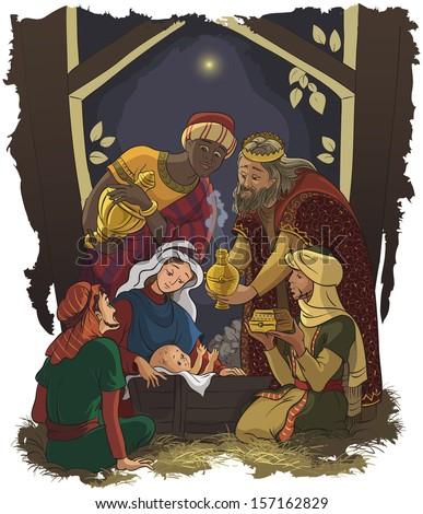 Nativity scene. Jesus, Mary, Joseph and the Three Kings. Raster version - stock photo