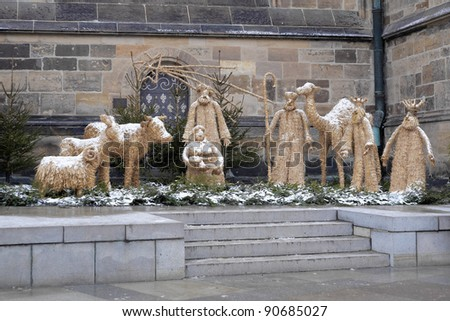 Nativity scene made of straw in Prague near the St. Vitus Cathedral, Czech Republic - stock photo