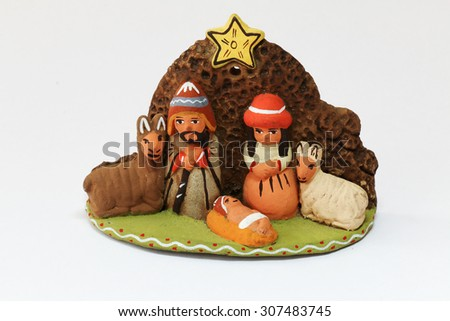 Nativity Scene on a white background - stock photo