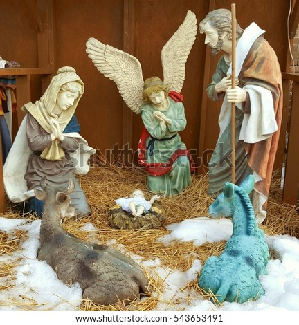 Nativity scene outside a church in Toronto, Canada.