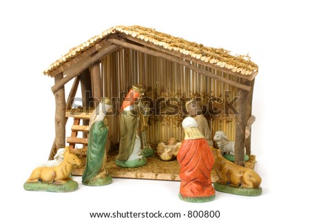 Nativity Scene Over White - stock photo