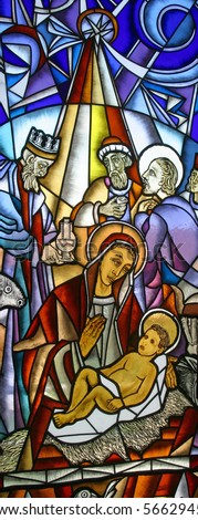 Nativity Scene, stained glass - stock photo