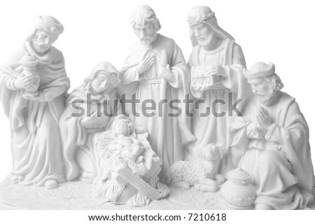 Nativity scene whit jesus, Joseph, Virgin Mary, three oriental kings bringing presents and a sheep