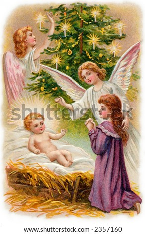 Nativity scene with angels surrounding the Christ child, and a young girl worshipping - a 1907 vintage illustration - stock photo