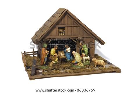 nativity scene with birth of jesus in stable, isolated over white background - stock photo