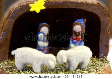 Nativity scene with hand-made figures made out of wool. Photo taken 30.11.2014 Taken in the exhibition of nativity scenes in the Czech Republic, a village named Hvozdna - stock photo