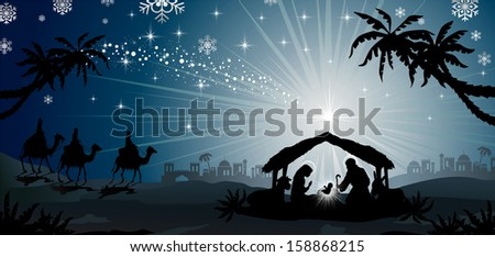 nativity scene with holy family and the three kings of oriental landscape  - stock photo