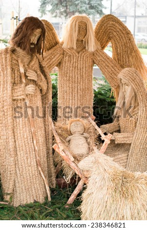 Nativity Scene with Jesus, Mary, Joseph and angel. - stock photo