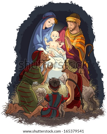 Nativity Scene with Jesus, Mary, Joseph and shepherds. Christian and Christmas holiday raster illustration. Also available vector and outlined (coloring book) version