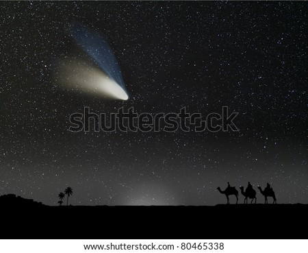 Nativity scene with 3 wise men and the Christmas star or comet. Composition with a photograph of a comet. - stock photo