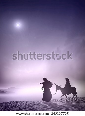 Nativity story concept. God, Lord, Gift, Religion, Peace, Holiday, Xmas, Church, Glory, Family, Walk, Travel, Desert, Messiah, Amen, Night, Purple, Blue, Star, Born, Mercy, Gospel, Born, Baby, Light - stock photo