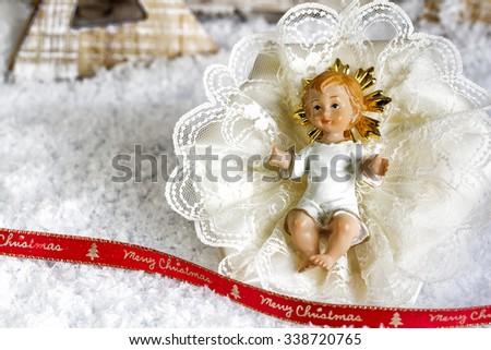 Nativity under Snow - Merry Christmas - stock photo