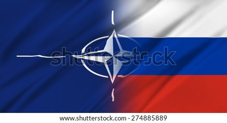 NATO and Russia. The concept of relationship between NATO and Russia.  - stock photo