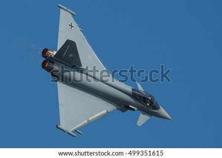 NATO DAYS, OSTRAVA, CZECH REPUBLIC - SEPTEMBER 15, 2016: German Luftwaffe Eurofighter Typhoon fly over Mosnov Airport