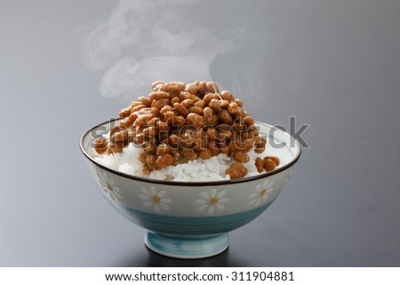 Natto, rice - stock photo
