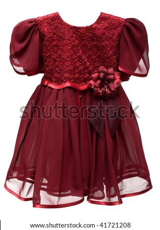 Natty crimson baby gown on white background - stock photo