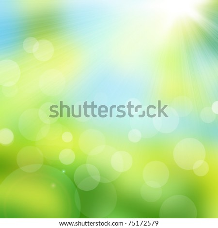 Natural abstract bokeh background with sunlight - stock photo