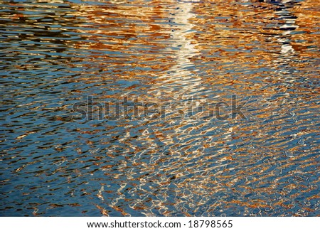 Natural abstract in fall colors - photograph of reflections in the water of a harbor - not computer generated or filtered