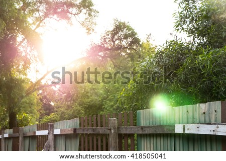 natural and fence - stock photo