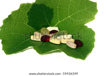 Natural and healthy dietary supplements - stock photo