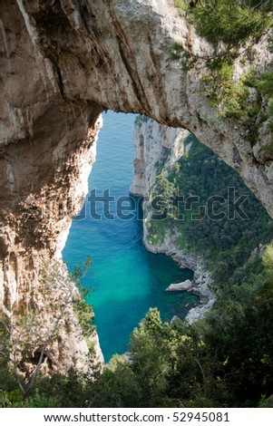 Natural Arch in Capri island, Italy - stock photo