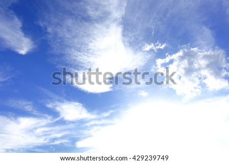 Natural background - blue sky with stratus white clouds over Hat Yai city in December.