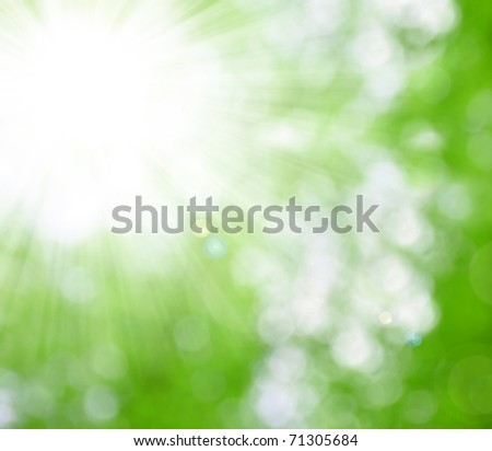 natural background blurring with sun rays - stock photo