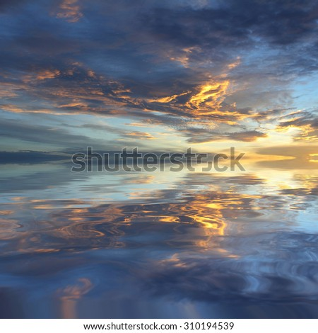 Natural background of the colorful sky and beautiful water reflection, During the time sunrise and sunset - stock photo