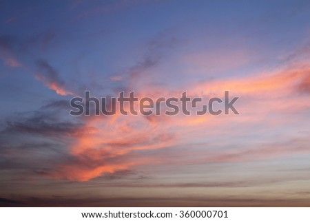 Natural background of the colorful sky and cloud, During the time sunrise and sunset - stock photo