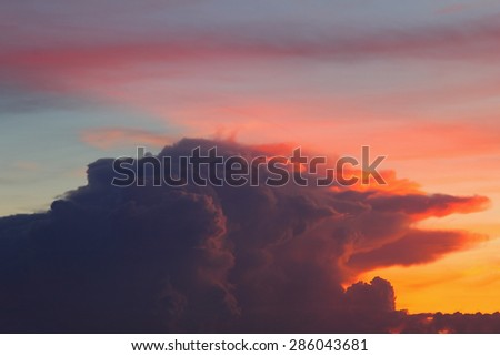 Natural background of the colorful sky during the sunset time - stock photo
