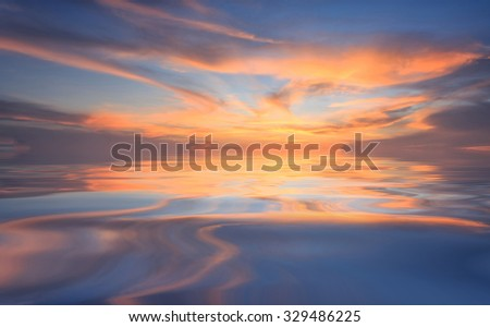 Natural background of the gold color sky and beautiful water reflection , During the time sunrise and sunset - stock photo