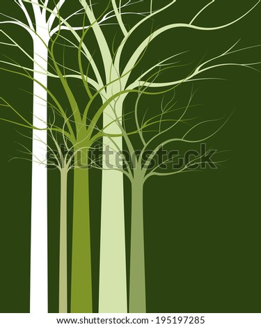 Natural background of trees without leaves - stock photo