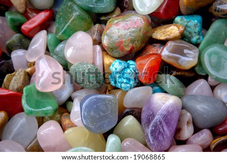 natural background - pile of semi precious jewelery stones closeup. best for craftsmanship, interior design, gift - stock photo