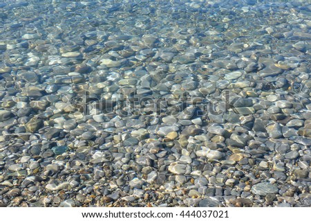 Natural Background, Stones Texture under a Transparent Sea Water - stock photo