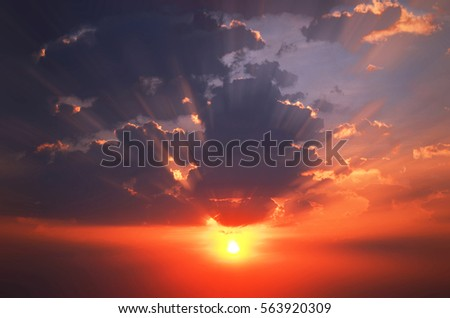 Natural background The sky at sunset flaring