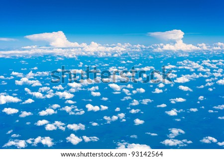 natural background view of the sky taken from airplane - stock photo