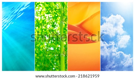 Natural backgrounds collage, transparent clear water, fresh green bamboo plant, dry orange sandy desert, blue cloudy sky, difference of summer nature   - stock photo