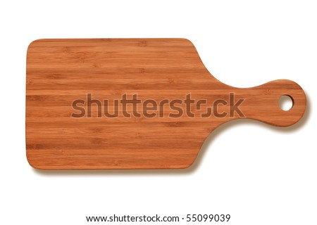 Natural bamboo cutting board isolated on white background, clipping path included. - stock photo