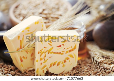 natural bar of soap with honey and wheat - beauty treatment - stock photo