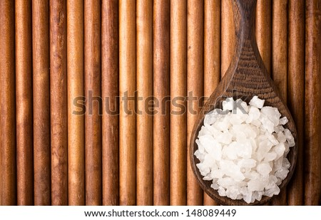 Natural bath salt wooden spoon, organic product.  - stock photo