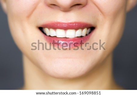 natural beautiful smile with white healthy teeth