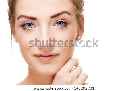 natural beautiful woman face closeup portrait isolated on white - stock photo
