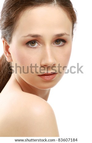 Natural beauty girl with clean skin isolated on a white background