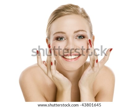 Natural beauty girl with good skin smiles isolated on a white background