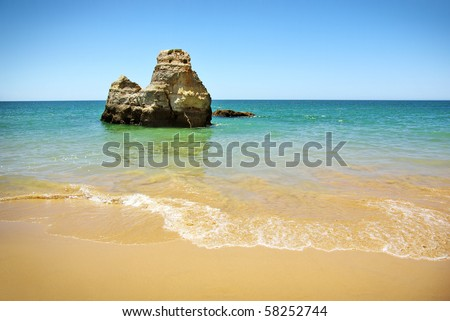 Natural beauty of a beach in Algarve, Portugal - stock photo