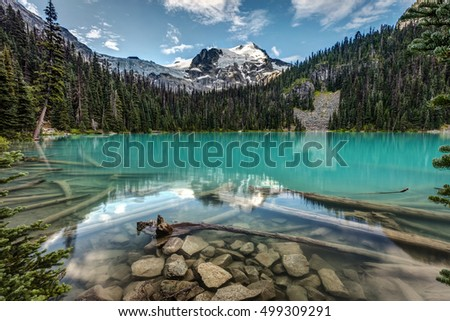 Natural Beauty of British Columbia, Canada. stunning scenery from Joffre lakes provincial park. Turquoise glacier fed water of middle Joffre lake, Mount Joffre and Matier Glacier on a calm morning.