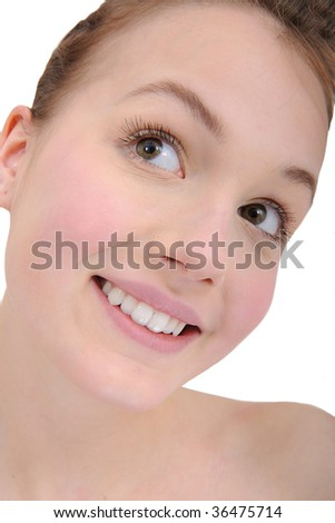 natural beauty portrait of a beautiful teen girl - stock photo