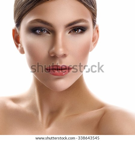 Natural beauty portrait of woman on white background - stock photo
