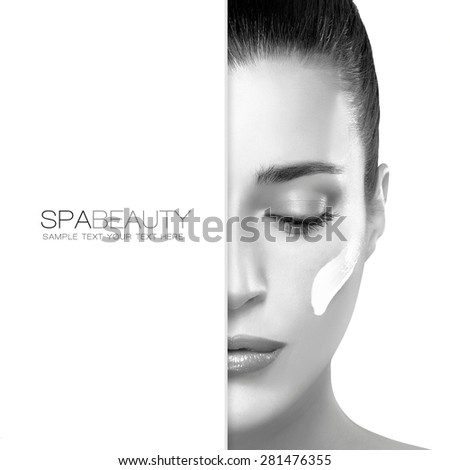 Natural Beauty. Spa treatment and skin care concept. Portrait of a gorgeous woman with cosmetic cream on her cheek and blank copy space alongside with sample text. Template design - stock photo