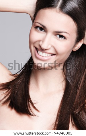 natural beauty woman with big beautiful smile, studio shot